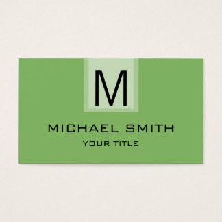 Professional Dollar Bill Solid Color Monogram Business Card