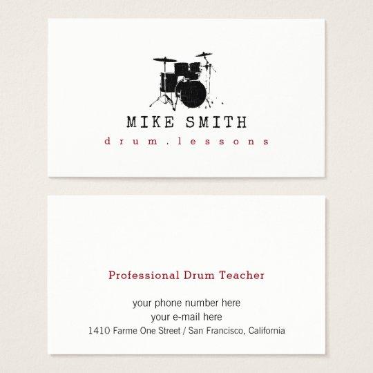 Professional Drum Teacher Drummer Business Card