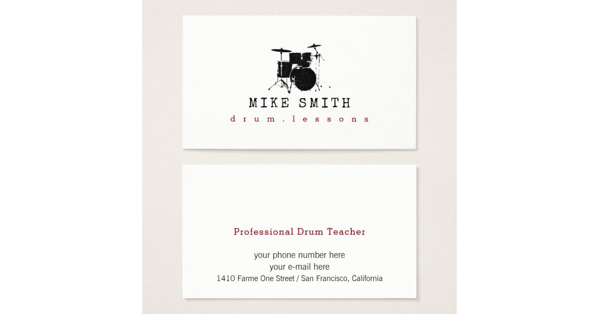 professional drum teacher . drummer business card | Zazzle.com