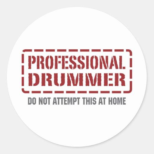 Professional Drummer Round Stickers