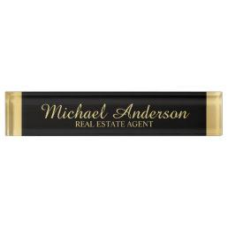 Professional Elegant Black and Gold Desk Name Plate