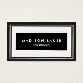 Professional Elegant Black and White Gold Border Business Card