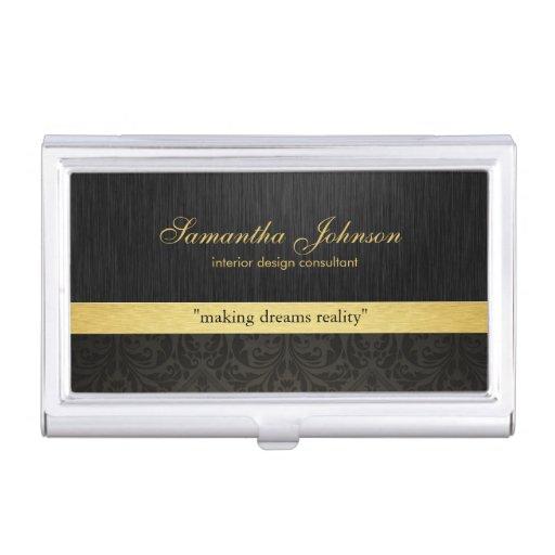 Professional Elegant Black Damask and Gold Business Card Holders