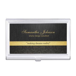 Professional Elegant Black Damask and Gold Business Card Holder