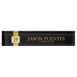 Professional Elegant Black & Gold with Monogram Desk Name Plate
