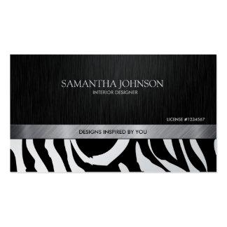 Professional Elegant Black & Silver Zebra Stripes Business Card