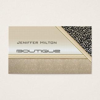 Professional elegant chic leopard print shiny look business card