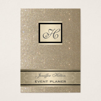Professional elegant chic luxury glittery monogram business card