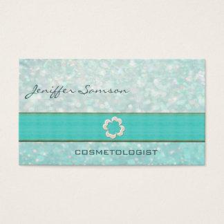 Professional elegant chic pearl shamrock glittery business card