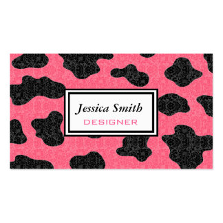 Professional elegant classy cow damask business cards