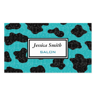 Professional elegant classy cow damask turquoise business card