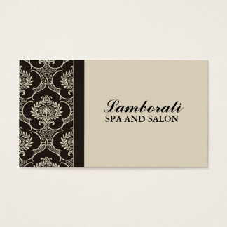 Professional Elegant Cosmetologist Damask Floral Business Card