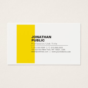 Lawyer Themed Professional Elegant Creative White Yellow Plain Business Card