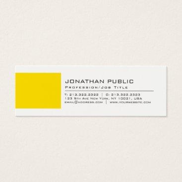 Lawyer Themed Professional Elegant Creative White Yellow Plain Mini Business Card