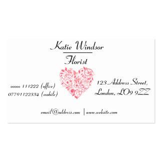 Professional Elegant Floral Hearts Business Card