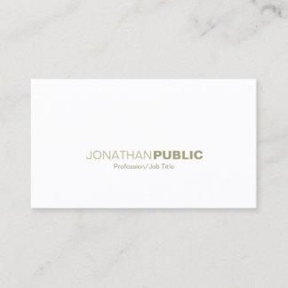 Professional Elegant Gold White Sleek Plain Modern Business Card