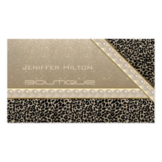 Professional elegant leopard print glittery perls Double-Sided standard business cards (Pack of 100)