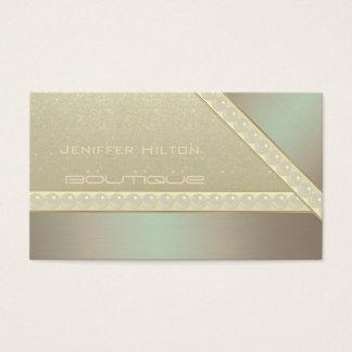 Professional elegant metal look glittery pearls business card