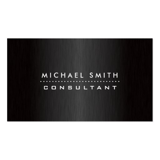 Professional Elegant Modern Black  Brushed Metal Business Card Template