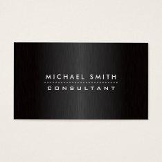 Professional Elegant Modern Black  Brushed Metal Business Card at Zazzle