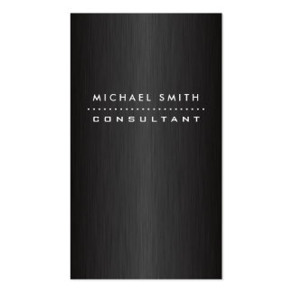 Professional Elegant Modern Black  Brushed Metal Double-Sided Standard Business Cards (Pack Of 100)