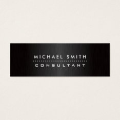 Professional Elegant Modern Black  Brushed Metal Mini Business Card at Zazzle