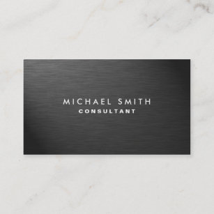 Modern business cards zazzle professional elegant modern black plain metal business card colourmoves