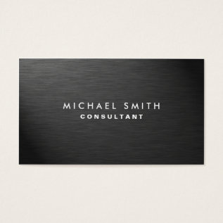 Professional Elegant Modern Black Plain Metal Business Card at Zazzle