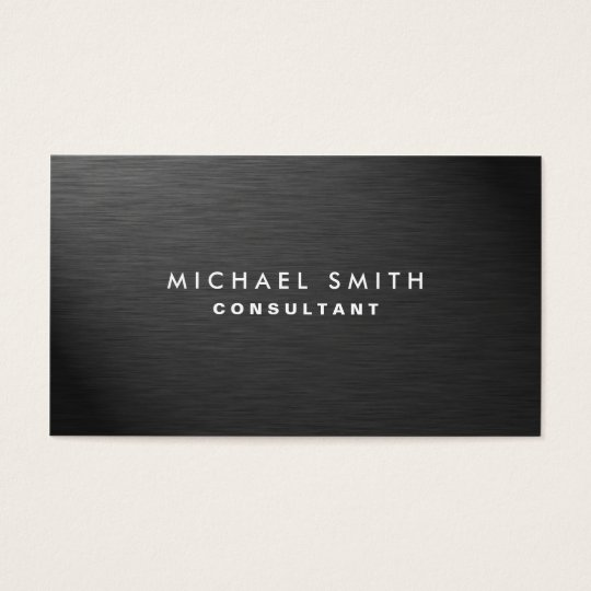 Professional Elegant Modern Black Plain Metal Business Card | Zazzle