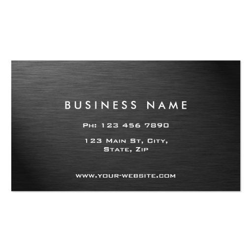Professional Elegant Modern Black Plain Metal Business Cards (back side)