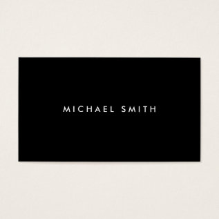 Professional Elegant Modern Black Plain Simple Business Card at Zazzle