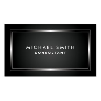 Professional Elegant Modern Black Plain Simple Double-Sided Standard Business Cards (Pack Of 100)