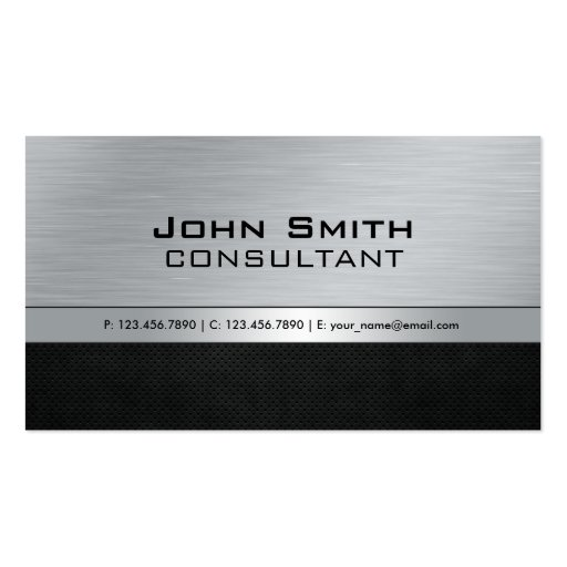 Professional Elegant Modern Black Silver Metal Business Card Template