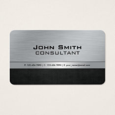 Professional Elegant Modern Black Silver Metal Business Card at Zazzle