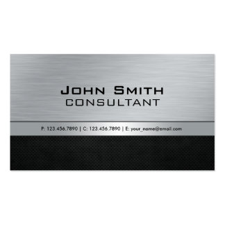 Professional Elegant Modern Black Silver Metal Double-Sided Standard Business Cards (Pack Of 100)