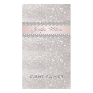 Professional elegant modern glittery bokeh pearls Double-Sided standard business cards (Pack of 100)