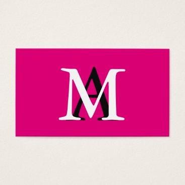 Professional Business Professional Elegant Modern Monogrammed Pink Business Card