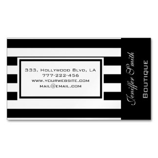 Professional elegant modern narrow stripes magnetic business card