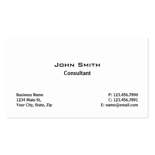 Professional Elegant Modern Plain Simple White Double-sided Standard Business Cards (pack Of 100)