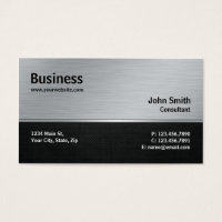 Professional Elegant Modern Silver and Black Metal Business Card