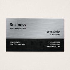 Professional Elegant Modern Silver And Black Metal Business Card at Zazzle