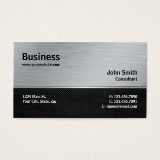 Professional Elegant Modern Silver and Black Metal Business Card