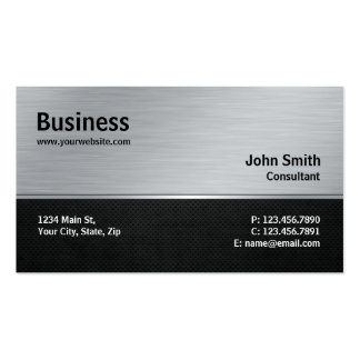 Professional Elegant Modern Silver and Black Metal Business Card Templates