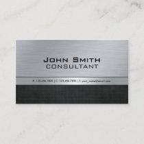 Professional Elegant Modern Silver Black Metal Business Card