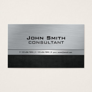 Professional Elegant Modern Silver Black Metal Business Card at Zazzle