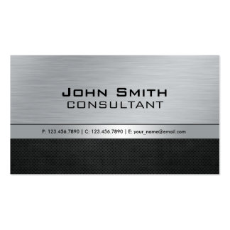 Professional Elegant Modern Silver Black Metal Double-Sided Standard Business Cards (Pack Of 100)