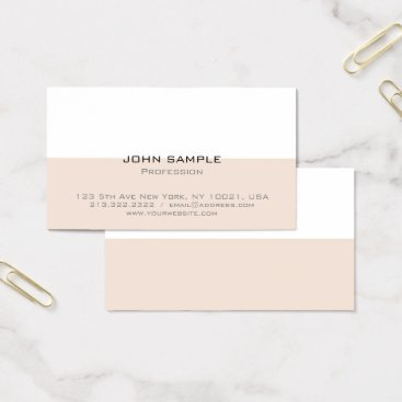 Beach Themed Professional Elegant Modern Simple Beige and White Business Card