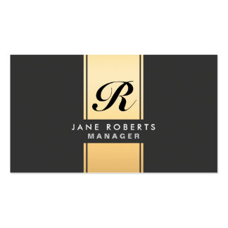 Professional Elegant Monogram Cosmetologist Gold Double-Sided Standard Business Cards (Pack Of 100)