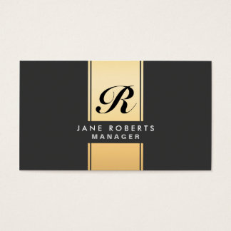 Professional Elegant Monogram Cosmetologist Gold Business Card
