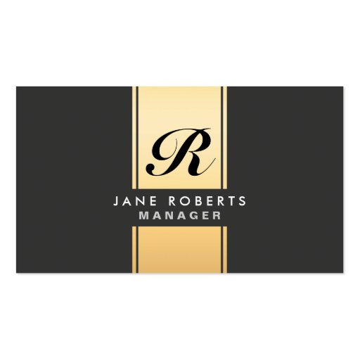 Professional Elegant Monogram Cosmetologist Gold Business Cards
